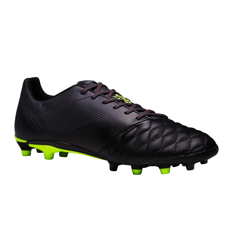 Agility 540 FG Adult Dry Pitch Leather Soccer Cleats - Black/Grey/Yellow