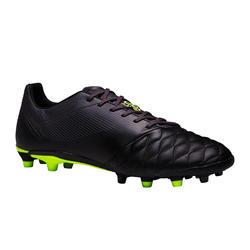 Chaussure de soccer adulte terrains secs Agilité 540 cuir FG noire grise jaune
