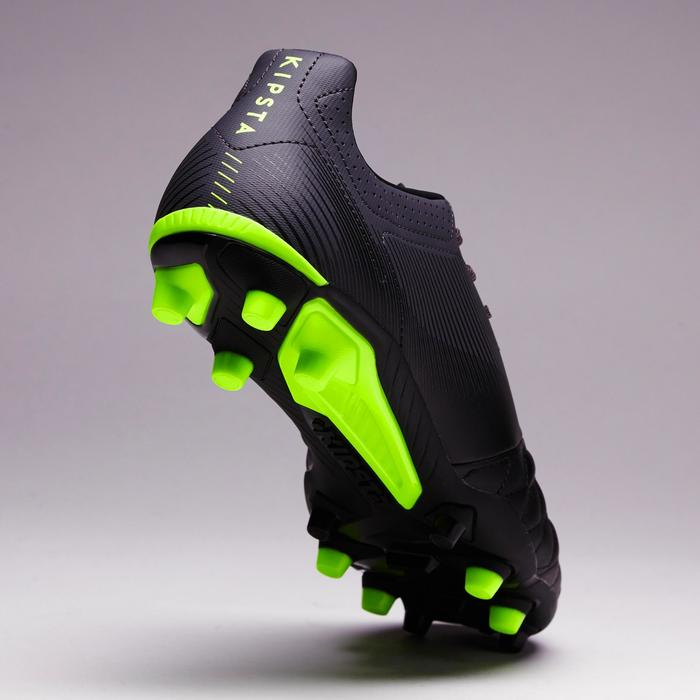 Chaussure de football adulte terrain sec Agility 700 FG noire grise jaune