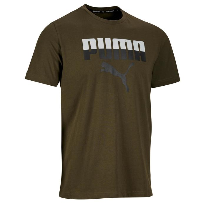 T-shirt Logo Puma 100 Gym Stretching homme kaki - 1353234
