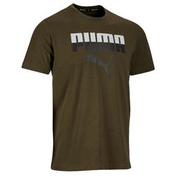 Heren T-shirt logo Puma 100 voor gym en stretching kaki