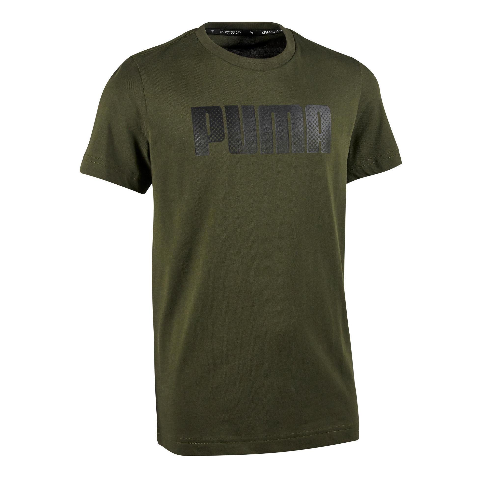 Puma Gym T-shirt met korte mouwen voor jongens kaki print