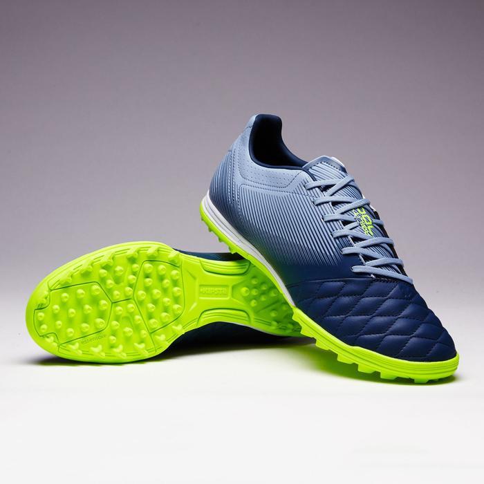 Chaussure de football adulte terrain dur Agility 700 cuir HG grise & bleue