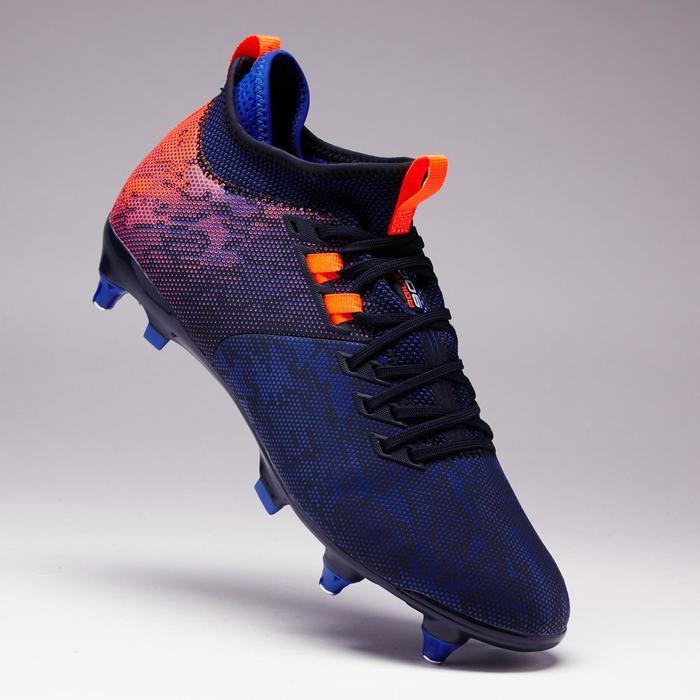 Botas de Fútbol adulto Kipsta Agility 900 Mid SG azul y naranja