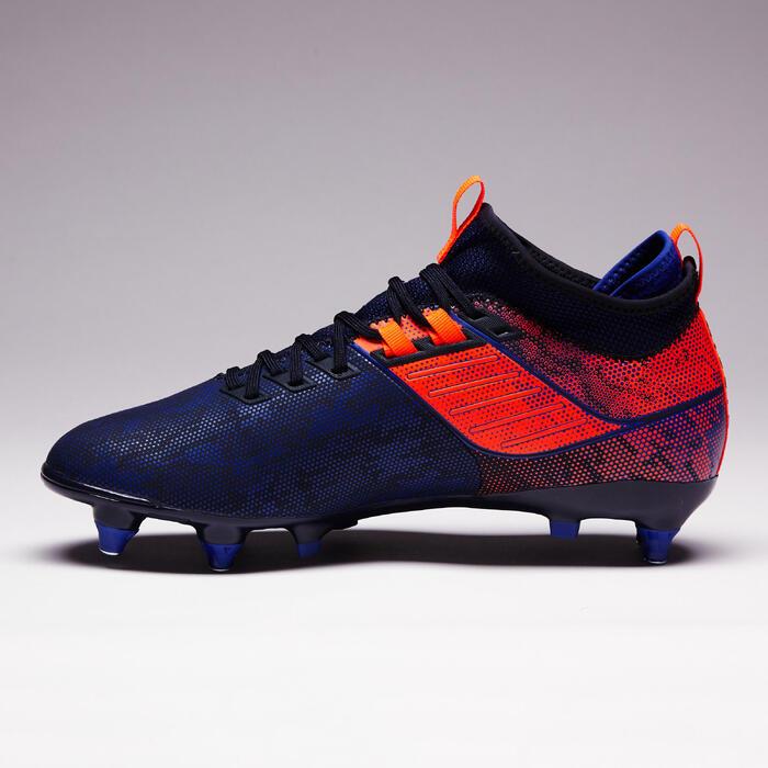 Voetbalschoenen volwassenen drassig terrein Agility 900 MiD SG blauw/oranje