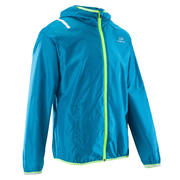 Wind children's athletics windproof jacket - sea blue/fluo yellow