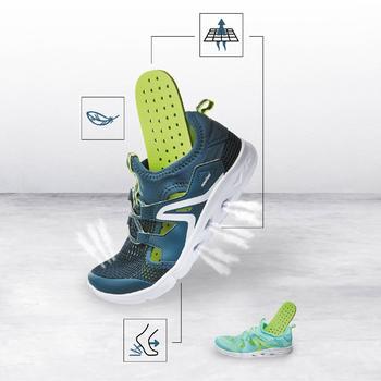 Kindersneakers voor wandelen PW 500 Fresh grijs / groen