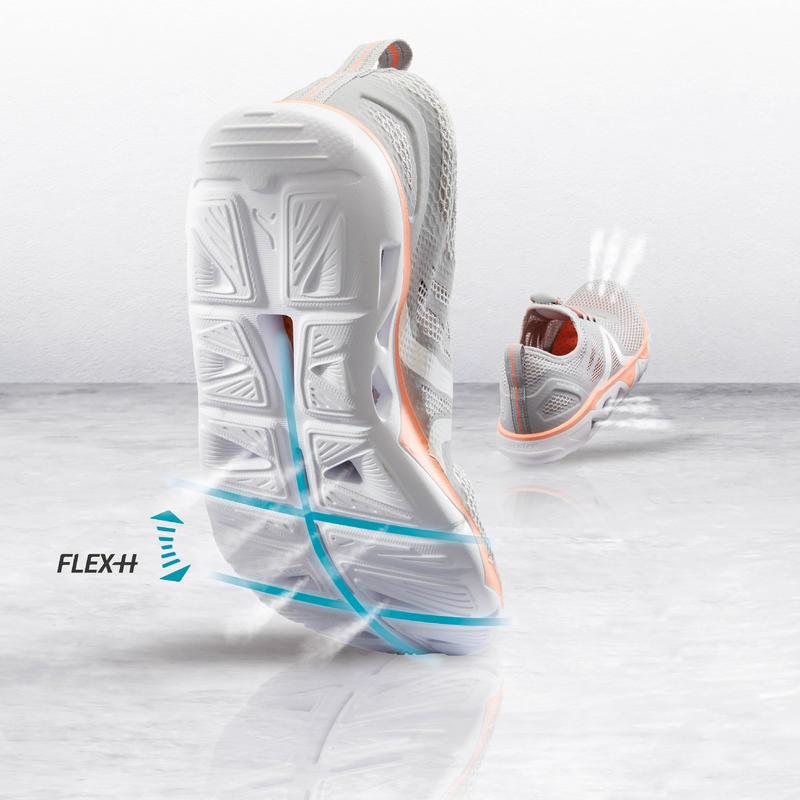 Walking Shoes for Women PW 500 Fresh - Grey/Coral