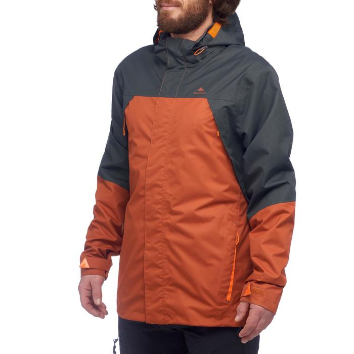 Veste pluie randonnée montagne MH100 imperméable homme Brique/Noir