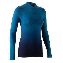 Sous-maillot Respirant 500 manches longues femme bleu pétrole.