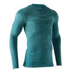 成人款美式足球長袖底層衣Keepdry 500-藍綠色