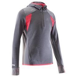 Kiprun Warm girls' long-sleeved athletics top - grey/pink