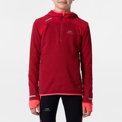 Atletiekshirt met lange mouwen voor meisjes Kiprun Warm donkerroze-rood
