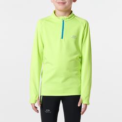 Hardloopshirt kinderen met lange mouwen run warm fluogeel