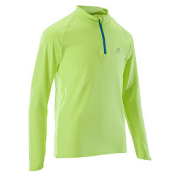 Run Warm children's long-sleeved athletics top - neon yellow