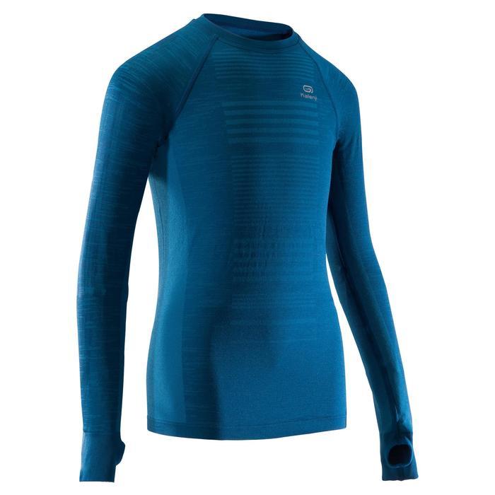 Tee shirt manches longues athlétisme enfant skincare bleu