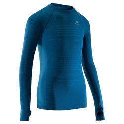 青少年親膚長袖跑步T恤 Kiprun - 藍色