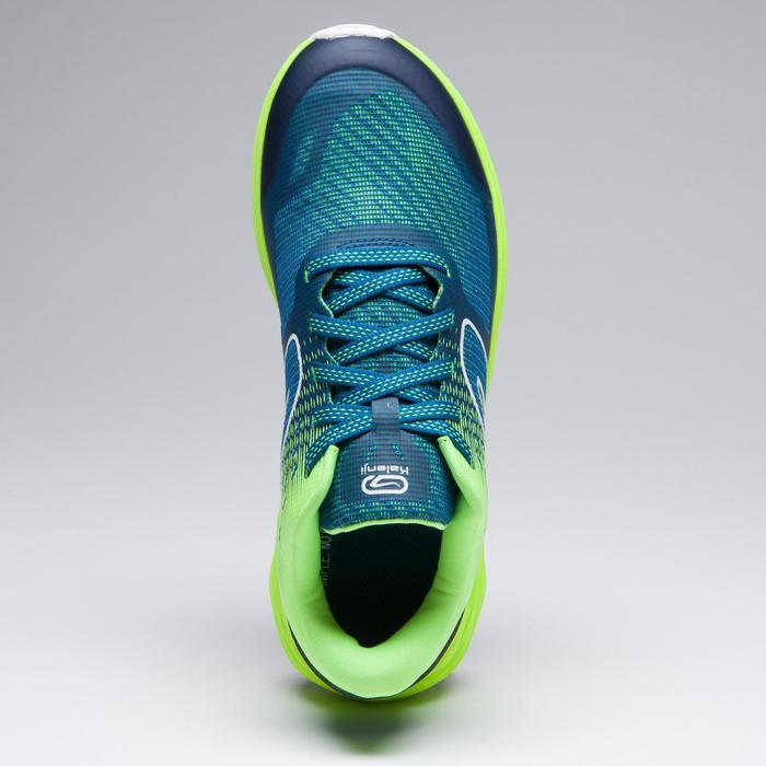 Zapatillas de atletismo para niños Kiprun azul amarillo fluo