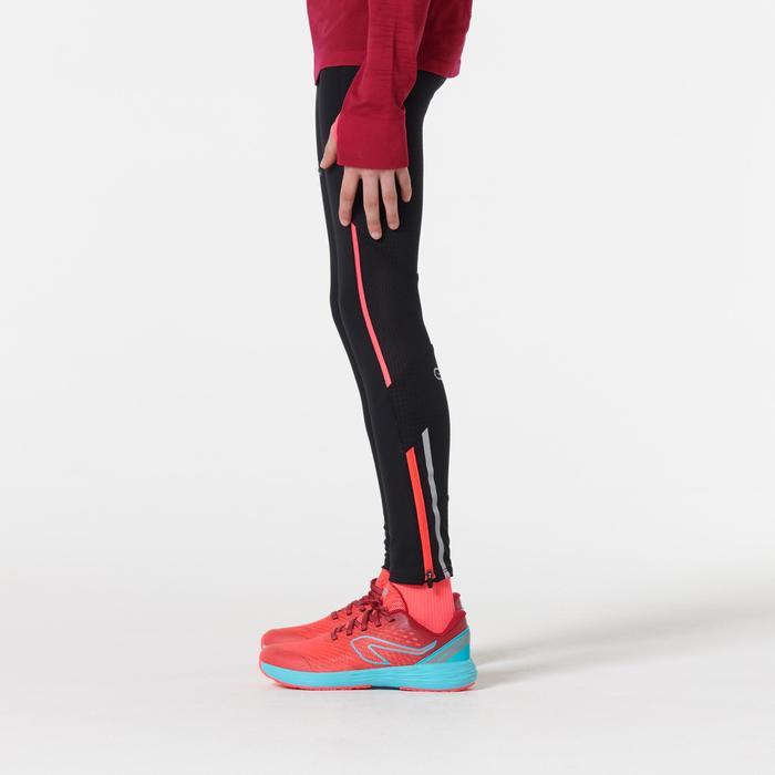Mallas de atletismo para niños kiprun negro rosa fluo