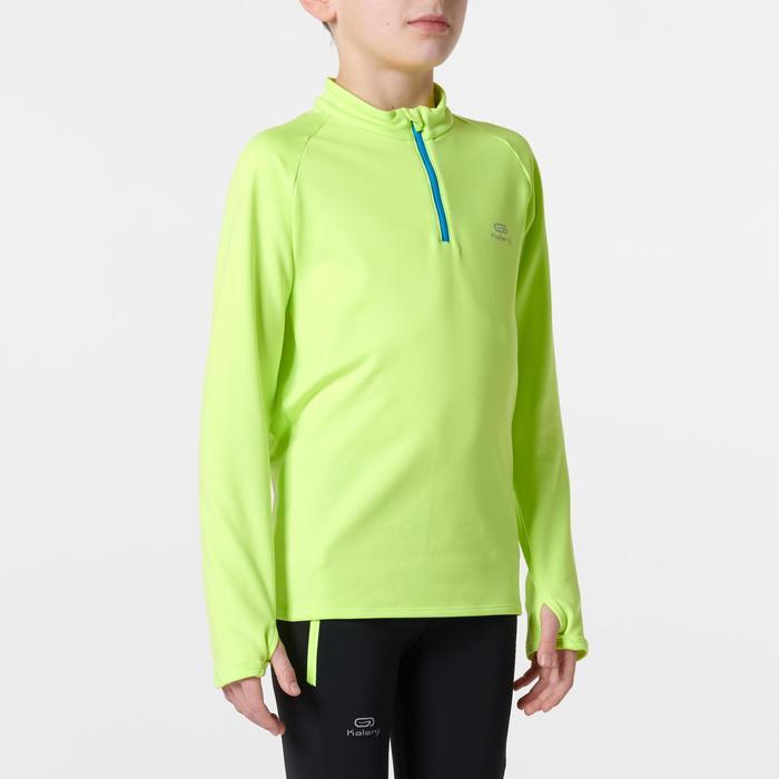 maillot manches longues athlétisme enfant run warm jaune fluo