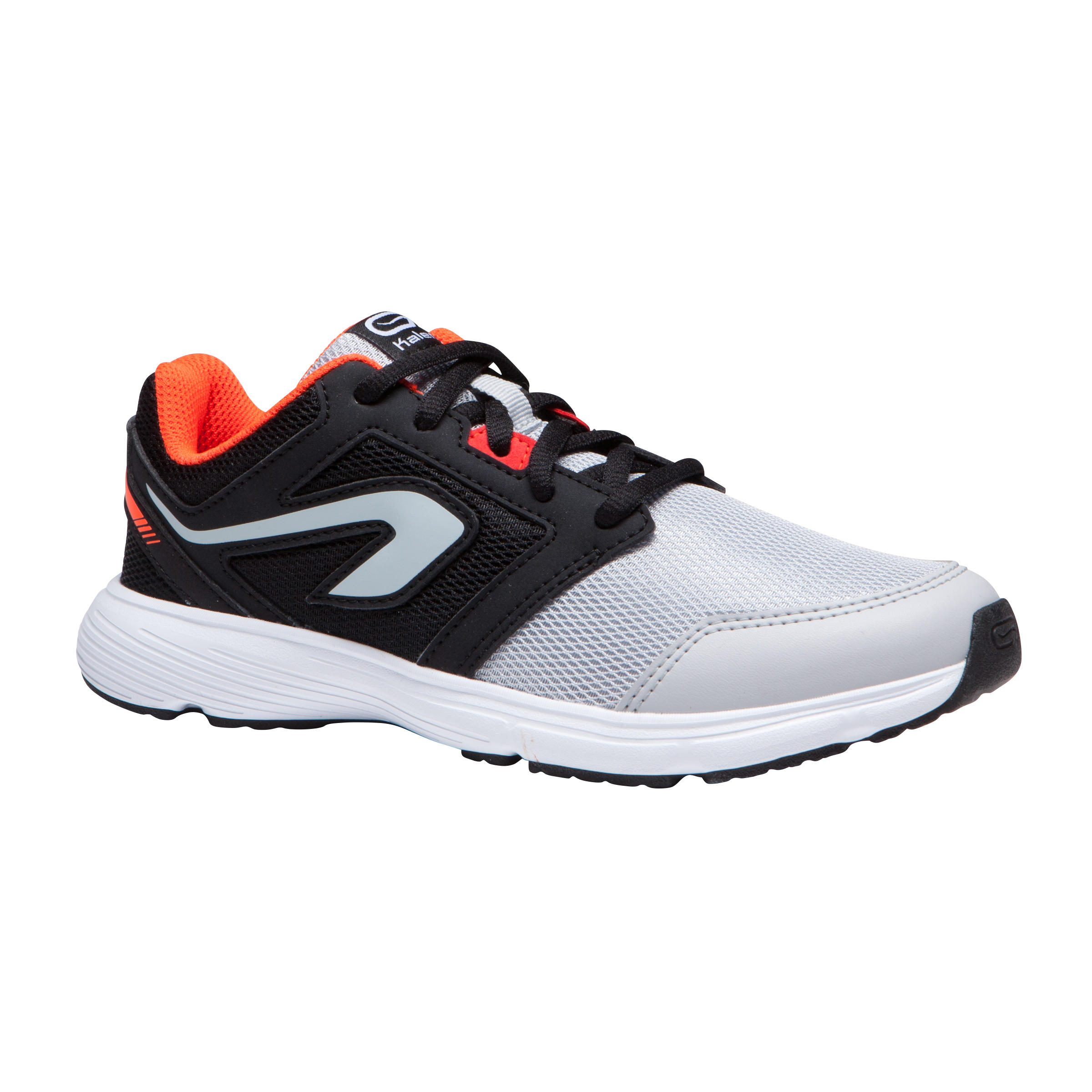 RUN SUPPORT LACES CHILDREN'S ATHLETICS SHOES - BLACK GREY RED