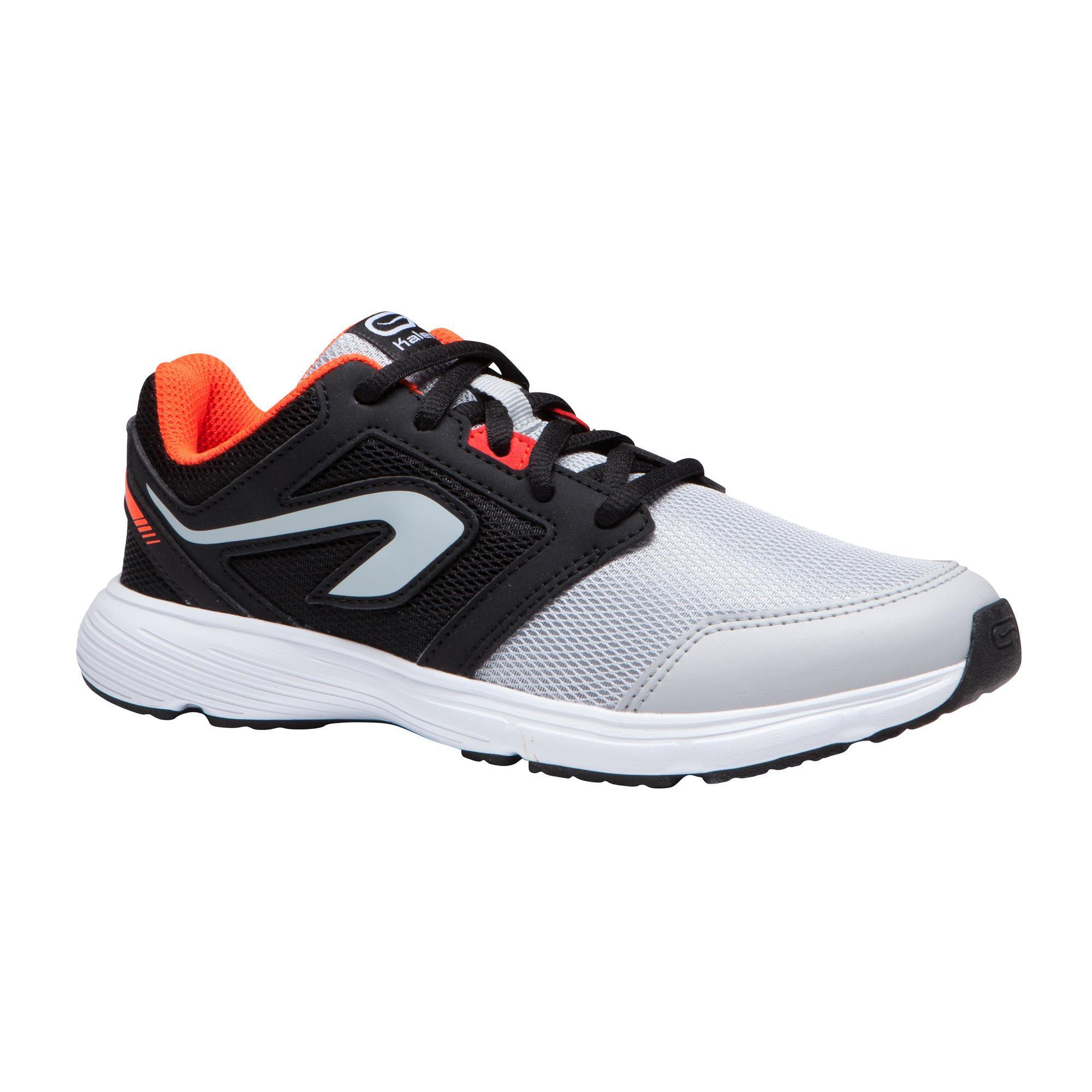 Kalenji Hardloopschoenen kinderen Run Support veters zwart/grijs/rood