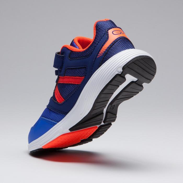 Atletiekschoenen voor kinderen Run Support klittenband blauw fluorood