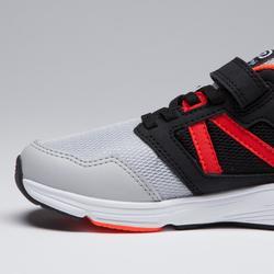 Laufschuhe Run Support Klettverschluss Kinder schwarz/grau/neonorange