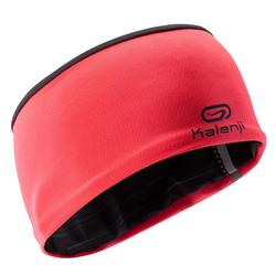 Reversible children's athletics winter headband - coral black print
