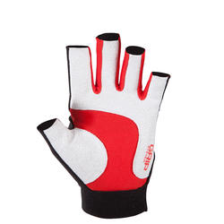 Rugby handschoenen zonder vingers Full H zwart/rood - 135450