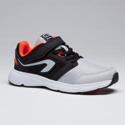 RUN SUPPORT VELCRO CHILDREN'S T&F SHOES - BLACK GREY ORANGE NEON