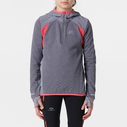 女孩保暖長袖上衣 KIPRUN - 灰色/粉色