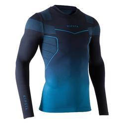 成人款美式足球長袖底層衣Keepdry 500-森綠藍