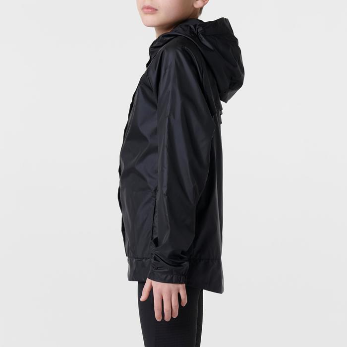 Windjack voor atletiek kinderen club personaliseerbaar zwart