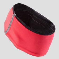 Omkeerbare warme hoofdband voor kinderen koraalrood met zwarte print