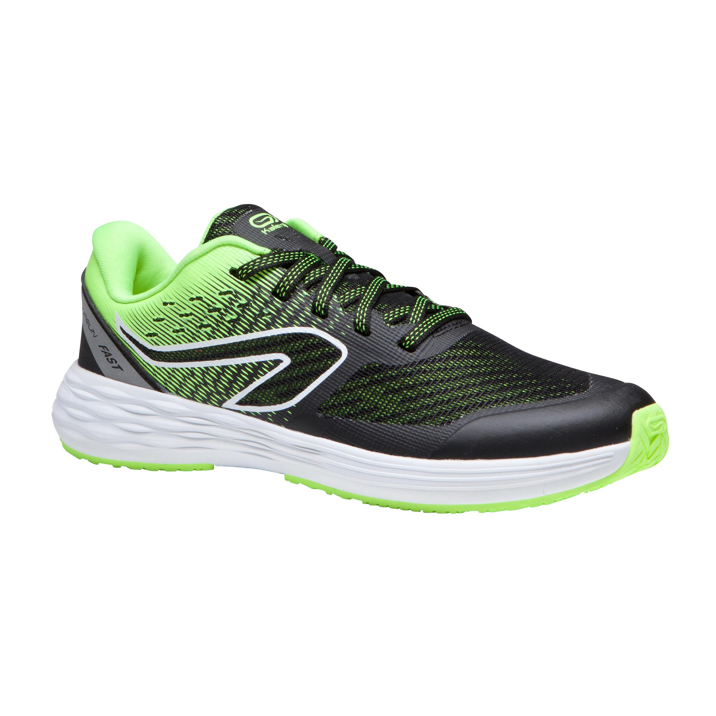 chaussures enfant d' athlétisme AT 500 kiprun fast noires jaunes - Kalenji