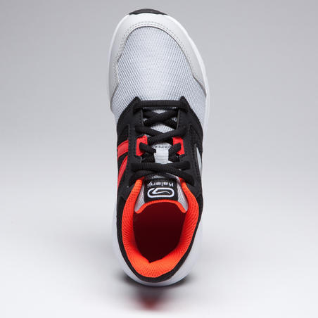 RUN SUPPORT SHOES CHILDREN'S ATHLETICS SHOES WITH LACES BLACK GREY RED