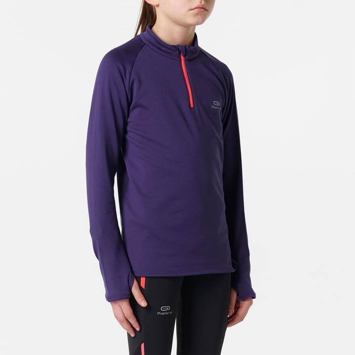 camiseta de manga larga atletismo niño run warm violeta oscuro