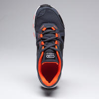 KIPRUN GRIP RUNNING & TRACK AND FIELD SHOES GREY AND BLACK NEON ORANGE -  KIDS