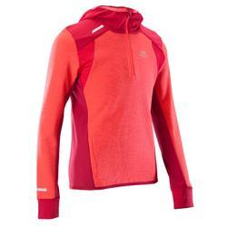 Kiprun Warm girls' long-sleeved athletics top - coral/dark pink