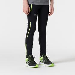 kiprun children's athletics tights - black yellow fluo