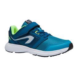 Atletiekschoenen voor kinderen Run Support klittenband blauw fluogeel