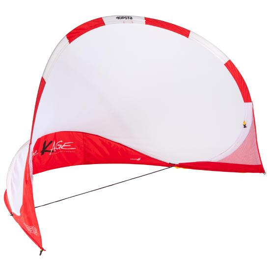 Portería de fútbol autodesplegable The Kage XL rojo blanco