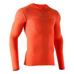 Camiseta térmica de fútbol manga larga adulto Keepdry 500 naranja fluo
