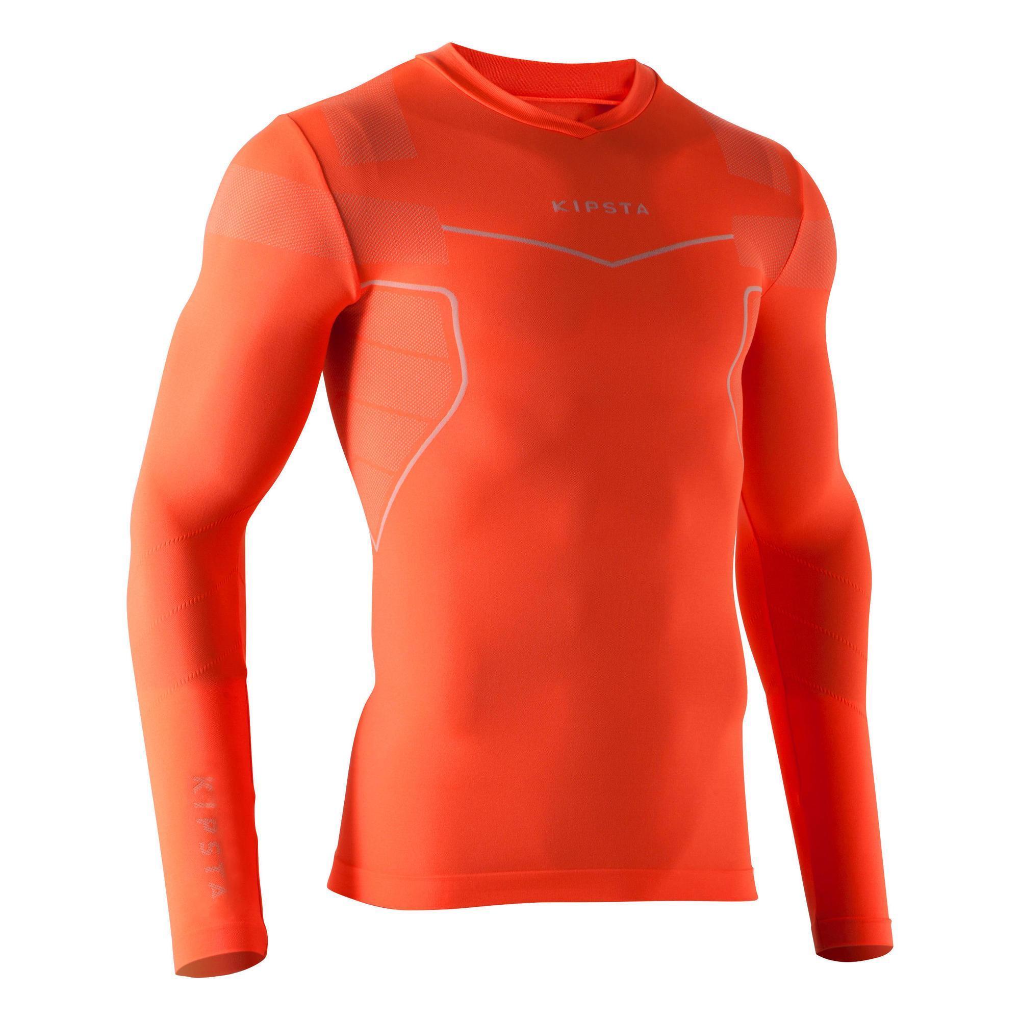 Funktionsshirt Keepdry 500 atmungsaktiv Erwachsene neonorange | Bekleidung > Shirts > Funktionsshirts | Rot - Orange | Kipsta