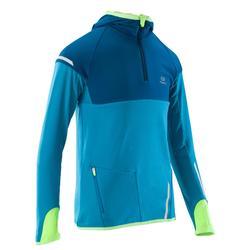 青少年保暖長袖運動上衣 KIPRUN - 藍色