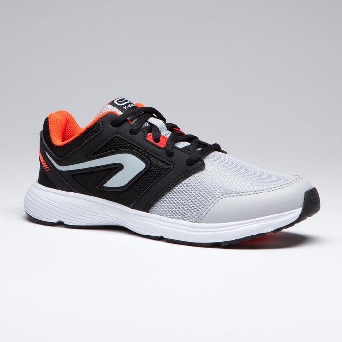 兒童田徑鞋帶運動鞋RUN SUPPORT黑色灰色紅色