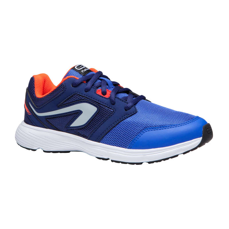 KIDS ATHLETICS SHOES Running - RUN SUPPORT BOY LACES BLUE RED KALENJI - Running Footwear