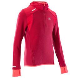 Kiprun Warm Girls' Long-Sleeved Track & Field Top - Dark Pink / Coral
