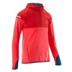 青少年保暖長袖運動上衣 KIPRUN - 紅色
